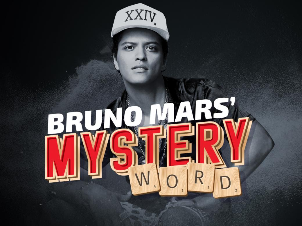 Guess Bruno Mars' Mystery Word to win $50,000!!