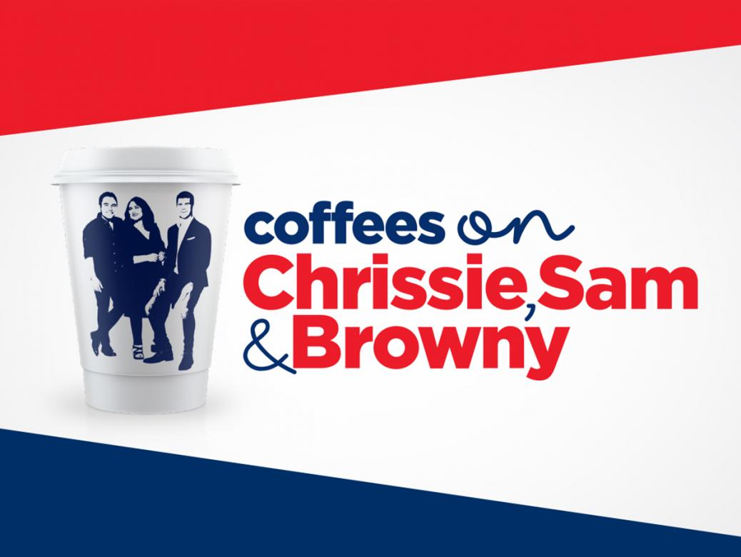 Free Coffees On Chrissie, Sam And Browny!