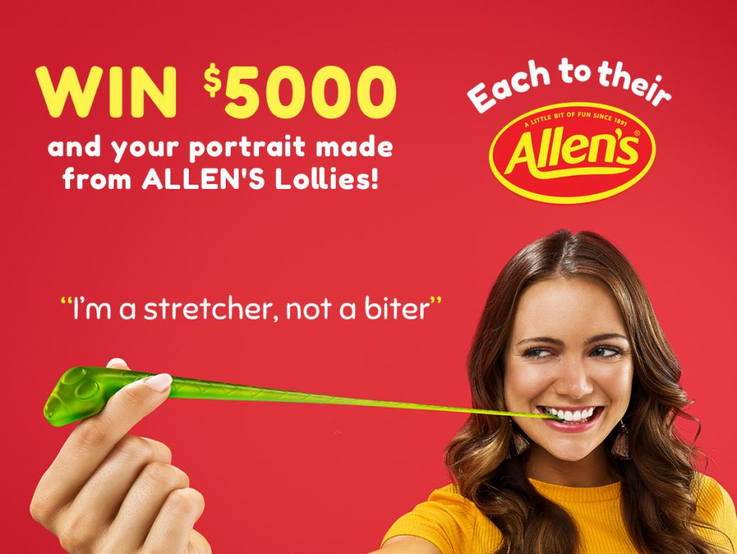 Win $5000 And Your Portrait Made From Allen's Lollies!