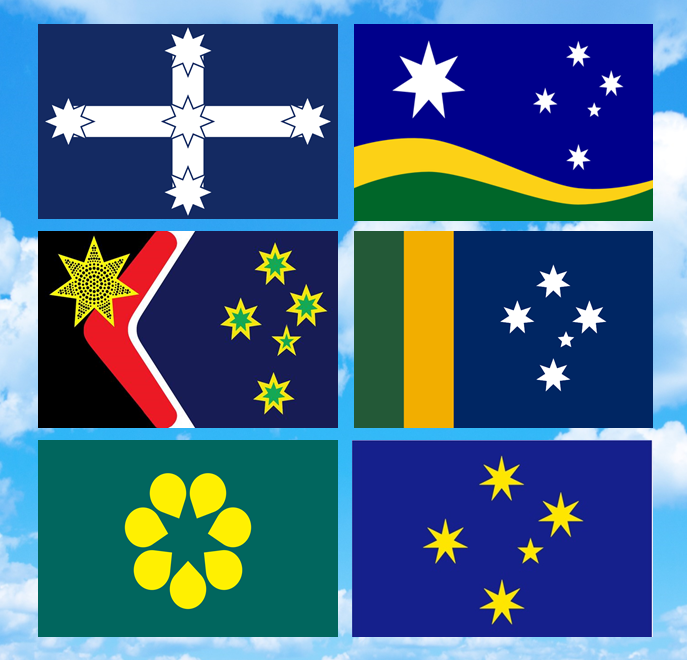 the new australian flag Redesign proposal for a new australian flag it is constituted by the country's national colours, with the aboriginal sun representing the indigenous population of the land prior colonisation as well as the 16 seven pointed stars representing each state and territory, which surrounds the sun as a symbol of unity between the two people.