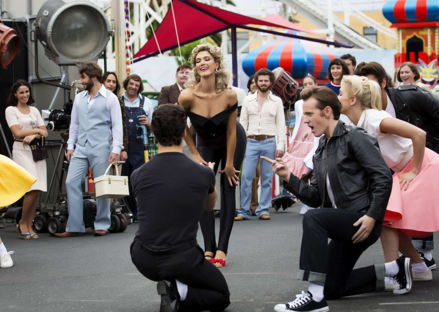 Olivia Newton John First Look Delta Goodrem As On The Set Of Grease Cr Kelly Gardner Itok Friday Events Planned For