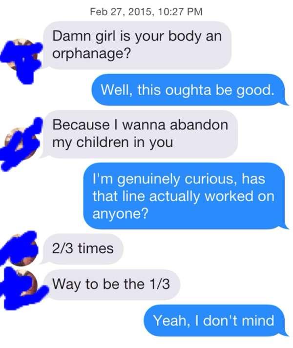 The worst Tinder pickup line  Ever