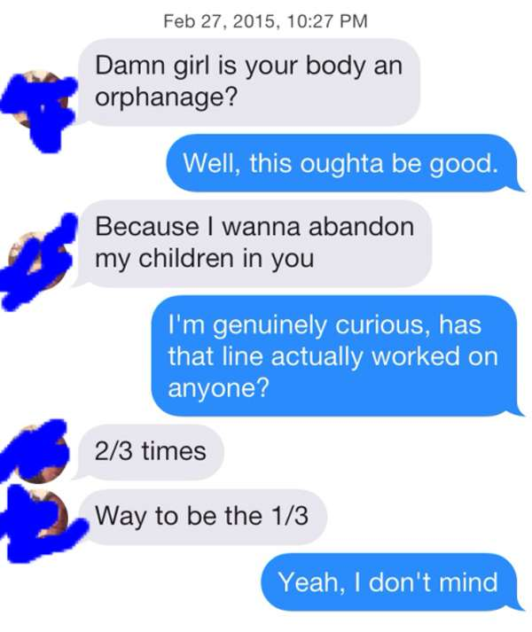 The worst Tinder pickup line  Ever