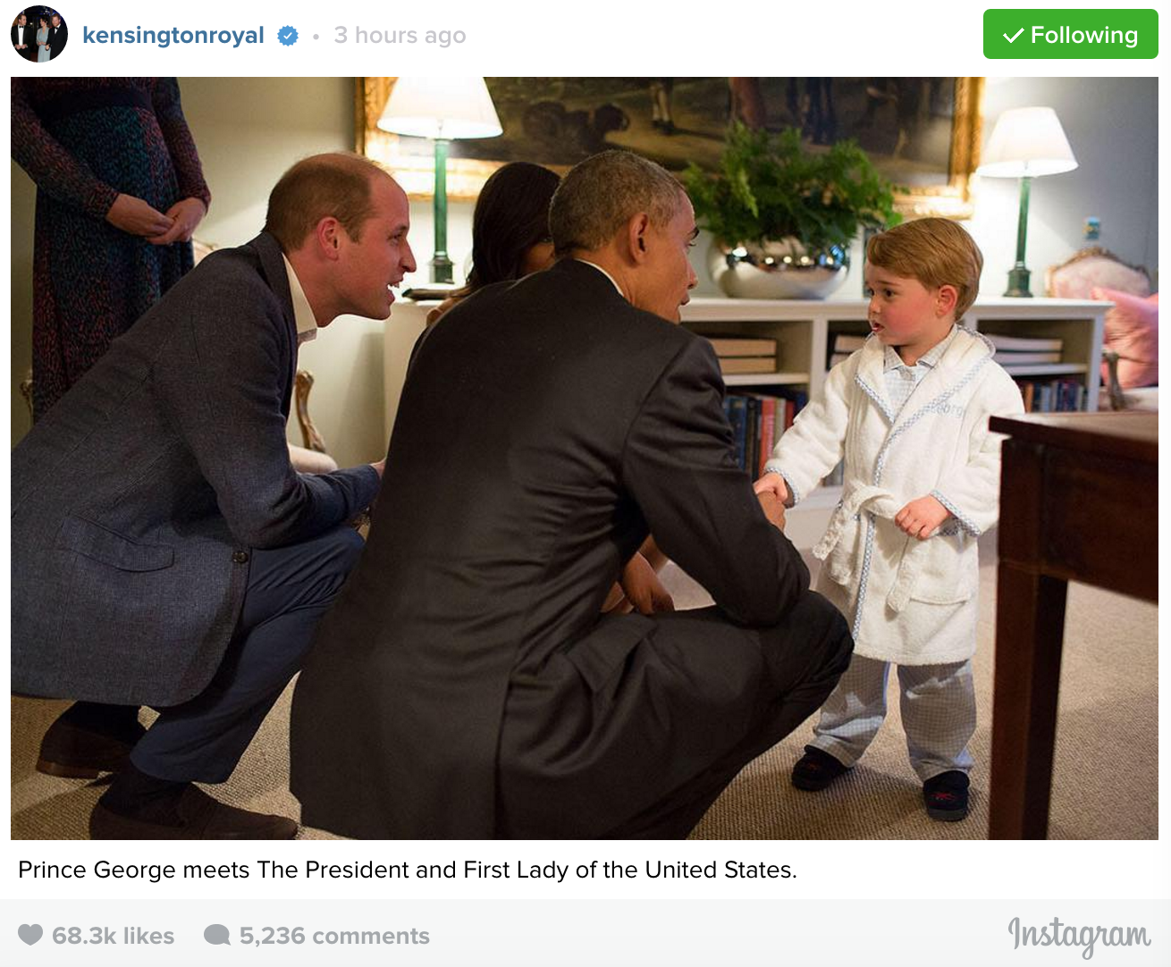 Prince George stayed up past his bedtime to meet Barack and Michelle