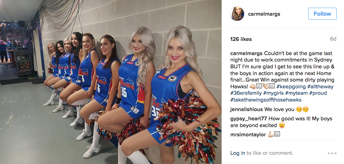 All clear, Pictures of sweating female cheerleaders
