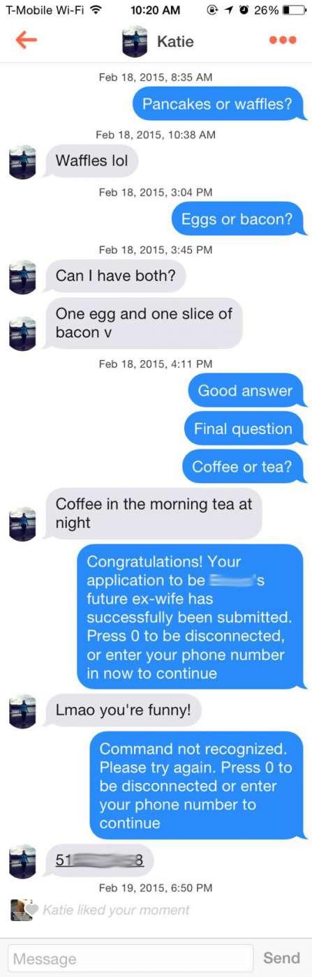 Tinder phone number pick up line